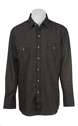 Ely Cattleman Black Mini Checkered Western Snap Shirt