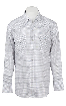 Ely Cattleman White Mini Checkered Western Snap Shirt