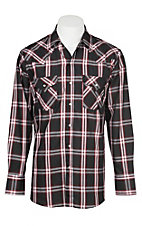 Ely Cattleman Men's Black Textured Plaid Western Snap Shirt