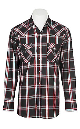 Ely Cattleman Men's Black Textured Plaid Western Snap Shirt