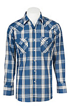 Ely Cattleman Men's Blue Textured Plaid Western Snap Shirt