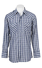 Ely Cattleman Men's Chambray Textured Plaid Western Snap Shirt