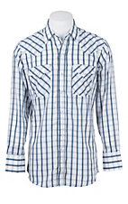 Ely Cattleman Men's White Textured Plaid Western Snap Shirt