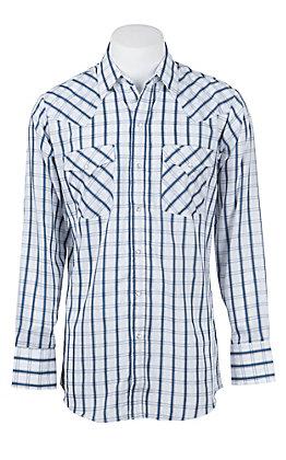 Ely Cattleman Men's White Textured Plaid Western Snap Shirt