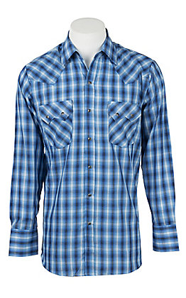 Ely Cattleman Men's Dobby Blue  Plaid Western Snap Shirt