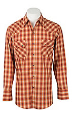 Ely Cattleman Men's Dobby Rust Plaid Western Snap Shirt