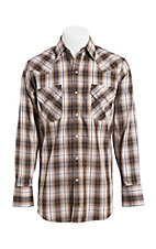 Ely Cattleman Men's Brown Textured Plaid Western Snap Shirt