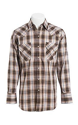 Ely Cattleman Men's Brown Textured Plaid Western Snap Shirt