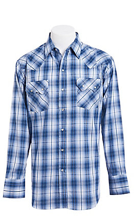 Ely Cattleman Men's Navy Textured Plaid Western Snap Shirt