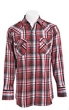 Ely Cattleman Men's Red Lurex Plaid Western Snap Shirt