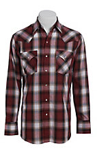Ely Cattleman Men's Herringbone Burgundy Plaid Long Sleeve Western Shirt