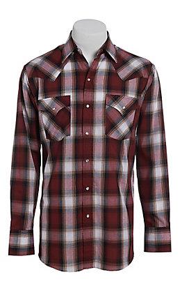 Ely Cattleman Men's Herringbone Burgundy Plaid Long Sleeve Western Shirt