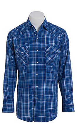 Ely Cattleman Men's Blue Windowpane Plaid Short Sleeve Western Shirt