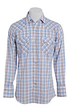 Ely Cattleman Men's Blue Windowpane Plaid Short Sleeve Western Shirt