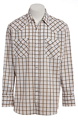 Ely Cattleman Men's Khaki Windowpane Plaid Long Sleeve Western Shirt