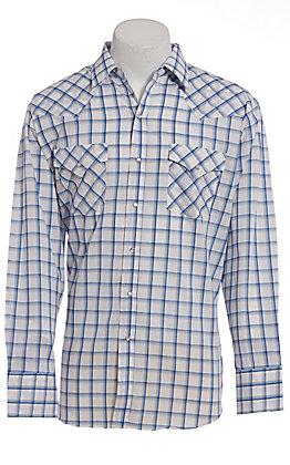 Ely Cattleman Men's White Windowpane Plaid Long Sleeve Western Shirt