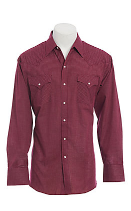 Ely Cattleman Men's Burgundy Mini Check Long Sleeve Western Shirt