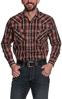 Ely Cattleman Men's Rust and Black Plaid Long Sleeve Western Shirt
