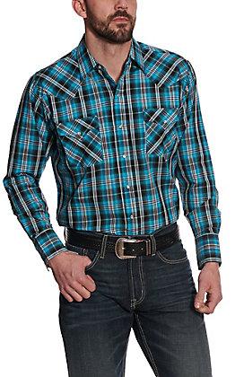 Ely Cattleman Men's Turquoise & Black Plaid Long Sleeve Western Shirt