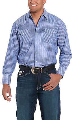 Ely Cattleman Men's Blue Windowpane Plaid Long Sleeve Western Shirt