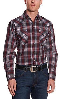 Ely Cattleman Men's Burgundy and Grey Plaid Long Sleeve Western Shirt