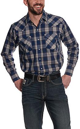 Ely Cattleman Men's Navy & Cream Plaid Long Sleeve Western Shirt
