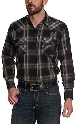 Ely Cattleman Men's Black and Cream Plaid Long Sleeve Western Shirt