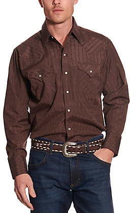 Ely Cattleman Men's Chocolate Brown Aztec Striped Long Sleeve Western Shirt