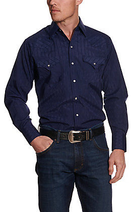 Ely Cattleman Men's Navy Aztec Striped Long Sleeve Western Shirt
