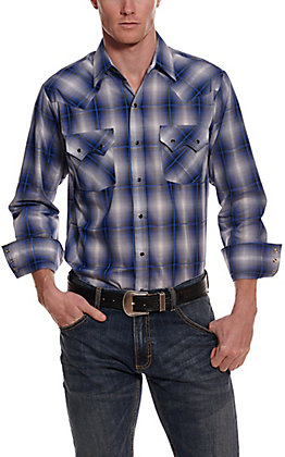 Ely Cattleman Men's Blue Plaid Long Sleeve Western Shirt