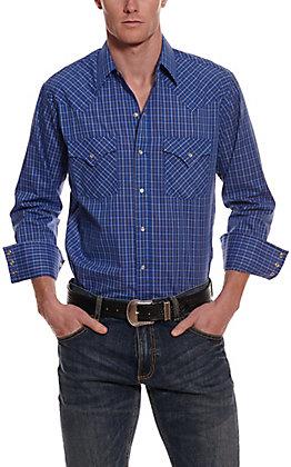 Ely Cattleman Men's Blue Mini Check Long Sleeve Western Shirt