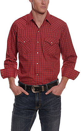 Ely Cattleman Men's Red Mini Check Long Sleeve Western Shirt