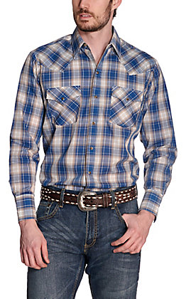 Ely Cattleman Men's Blue & Tan Plaid Long Sleeve Western Shirt