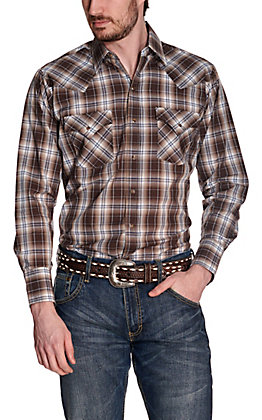 Ely Cattleman Men's Brown & Navy Plaid Long Sleeve Western Shirt