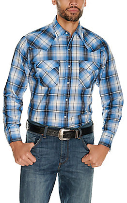 Ely Cattleman Men's Blue and Black Textured Dobby Plaid Long Sleeve Western Shirt