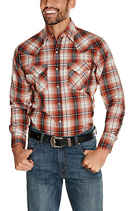 Ely Cattleman Men's Rust and Black Textured Dobby Plaid Long Sleeve Western Shirt