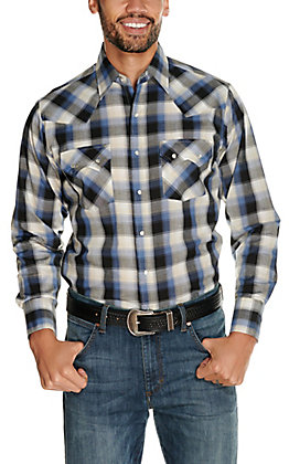 Ely Cattleman Men's Black and Blue Classic Plaid Long Sleeve Western Shirt