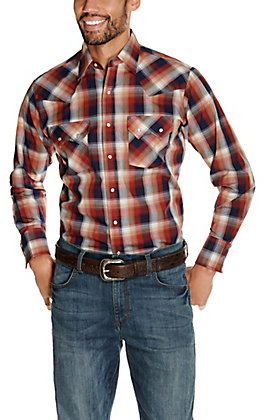 Ely Cattleman Men's Rust and Navy Classic Plaid Long Sleeve Western Shirt