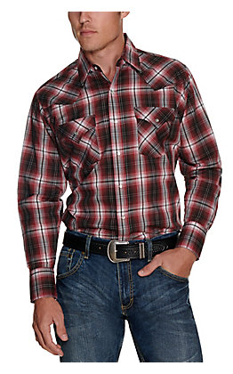 Ely Cattleman Men's Burgundy and Black Plaid Easy Care Long Sleeve Western Shirt