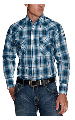Ely Cattleman Men's Blue and Black Plaid Easy Care Long Sleeve Western Shirt