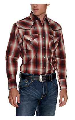Ely Cattleman Men's Brick Plaid with Black Piping Easy Care Long Sleeve Western Shirt