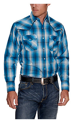 Ely Cattleman Men's Turquoise Plaid with Black Piping Easy Care Long Sleeve Western Shirt