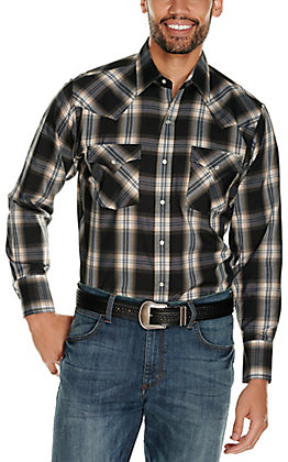 Ely Cattleman Men's Black Classic Plaid Long Sleeve Western Shirt