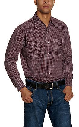 Ely Cattleman Men's Burgundy Check Long Sleeve Western Shirt