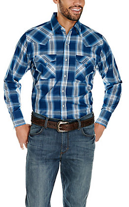 Ely Cattleman Men's Blue and White Classic Plaid Long Sleeve Western Shirt