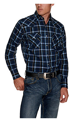 Ely Cattleman Men's Navy and Black Textured Plaid Easy Care Long Sleeve Western Shirt