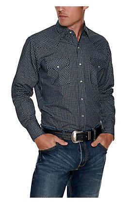 Ely Cattleman Men's Black with Blue and White Mini Check Easy Care Long Sleeve Western Shirt