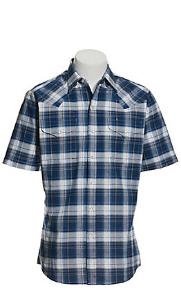 Ely Cattleman Men's Blue, White and Tan Plaid Wrinkle Resistant Short Sleeve Western Shirt - Extended Sizes