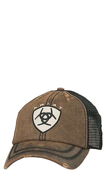 5818d31fca3 cheap ariat distressed oilskin brown patch logo cap cavenders 3584e d8854