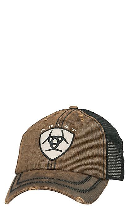 Ariat Distressed Oilskin Brown Patch Logo Cap